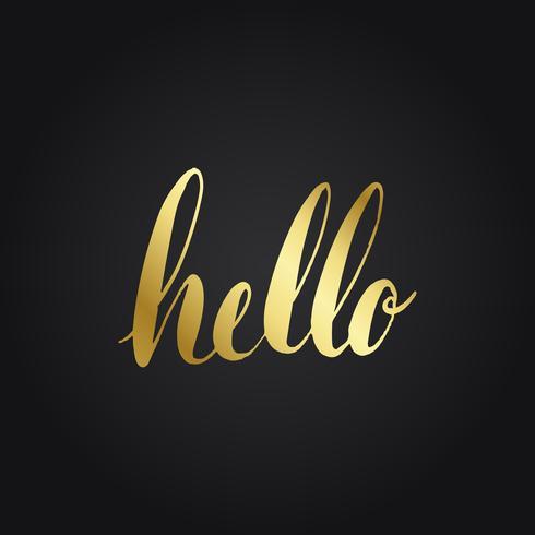 Hola saludo tipografía estilo vector