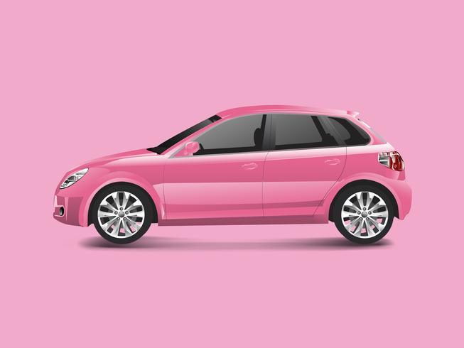 Automobile rosa della berlina in un vettore rosa del fondo