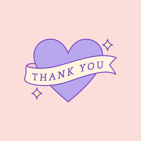 Cute and girly Thank You badge vector