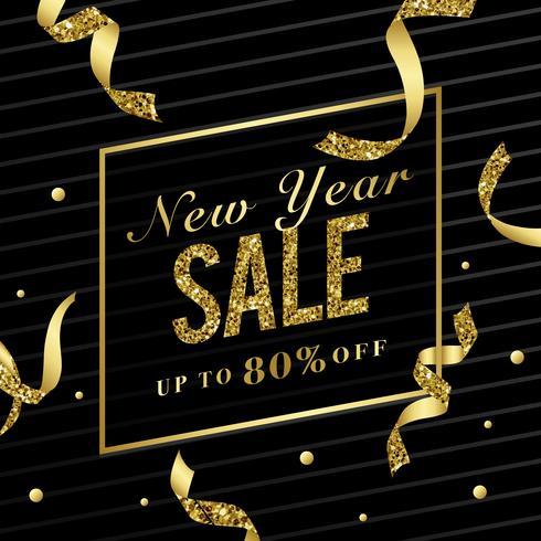 Venta de año nuevo 80% de descuento vector de señal