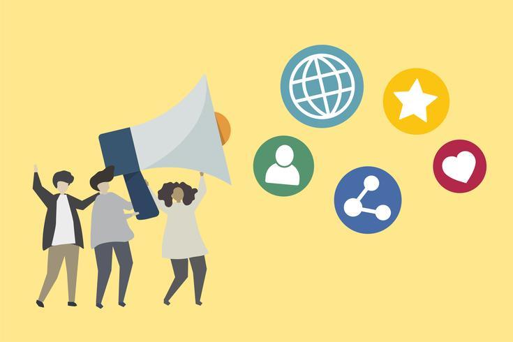 Mensen met megafoon en sociale media iconen illustratie