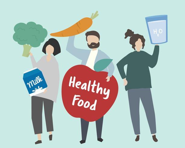 Pessoas com ilustração de comida saudável