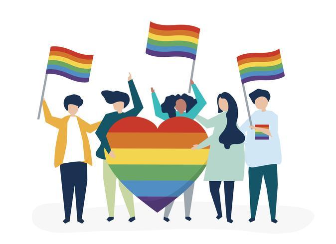 Charakterillustration von den Leuten, die LGBT-Stützikonen halten