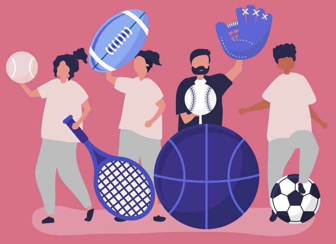 Atletas llevando diferentes iconos del deporte.