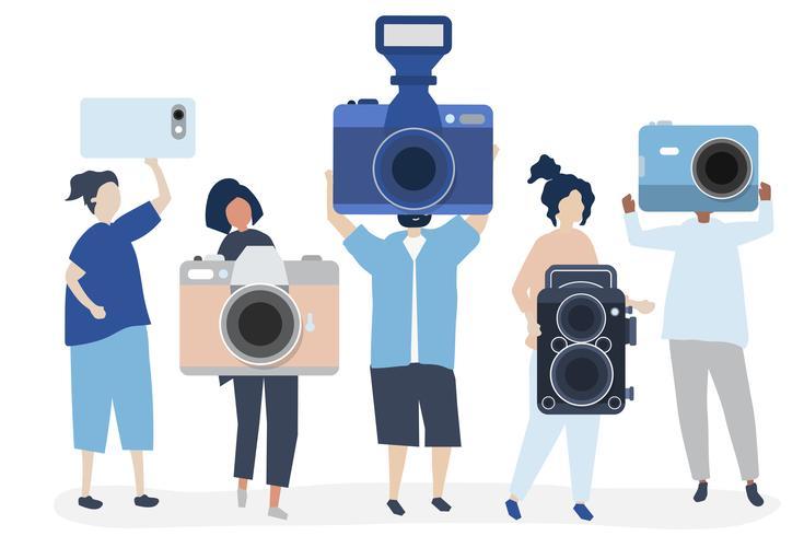 Illustrazione di carattere di fotografi con telecamere