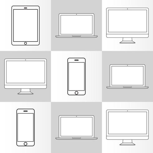 Illustration of digital devices isolated vector
