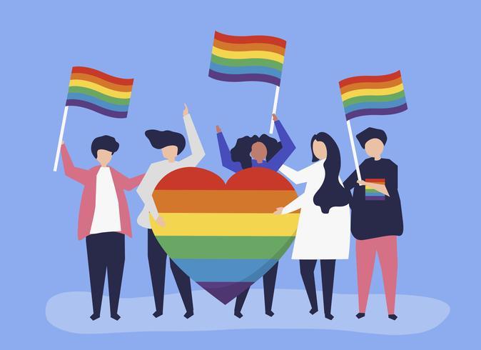 Illustrazione di carattere di persone in possesso di icone di supporto LGBT