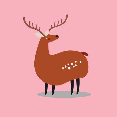 Ilustración de dibujos animados lindo ciervo manchado salvaje