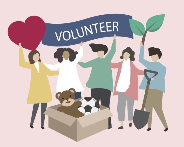 Voluntários com ilustração de ícones de caridade
