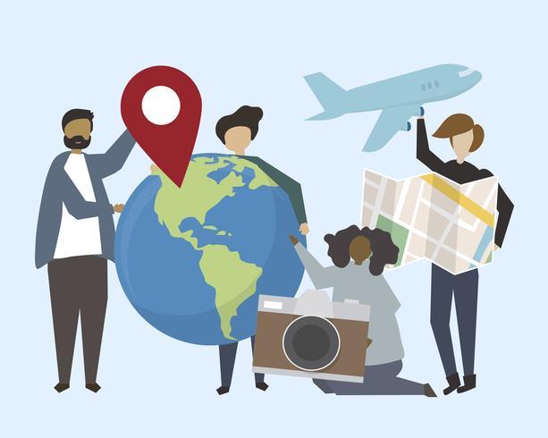 Un grupo de personas con ilustración de iconos de viaje