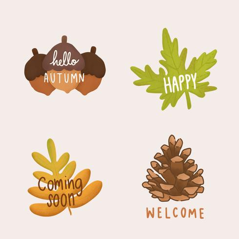 Conjunto de ilustración de hojas de otoño