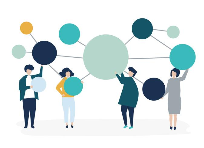 Las personas que tienen conectado copia espacio círculo iconos ilustración