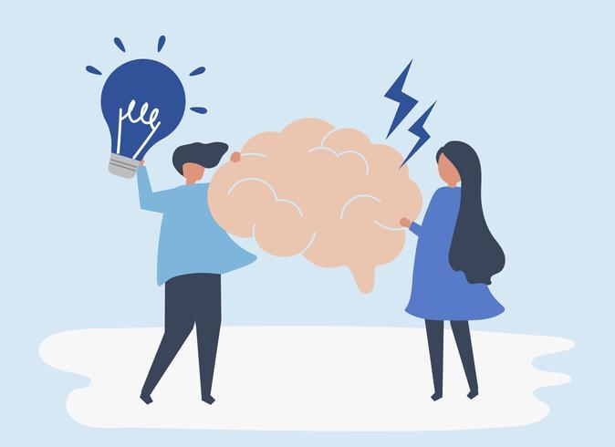 Karaktär av personer som håller kreativa idéer ikoner illustration