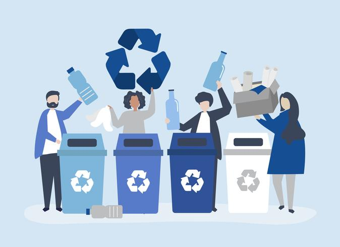 People sorting garbage for recycling
