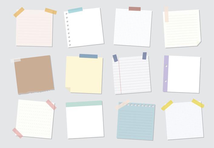 Colección de ilustraciones de notas adhesivas.