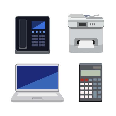 Samling av maskiner som används i kontor isolerade på vit bakgrund