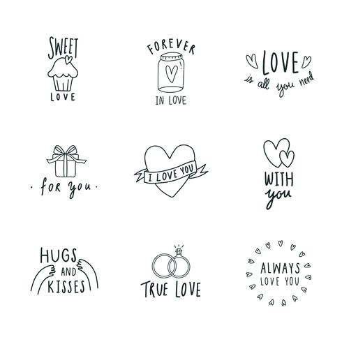 Symbols of love icon set vector