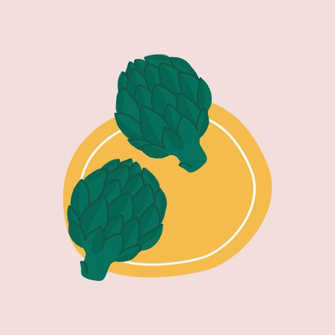 Two artichokes on a plate vector