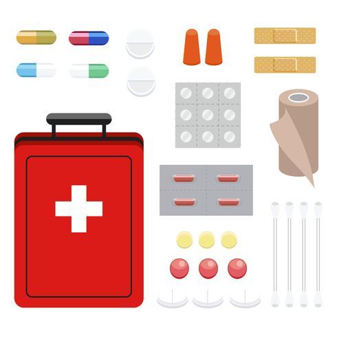 Het verzamelen van eerste hulp en geneesmiddelenillustratie
