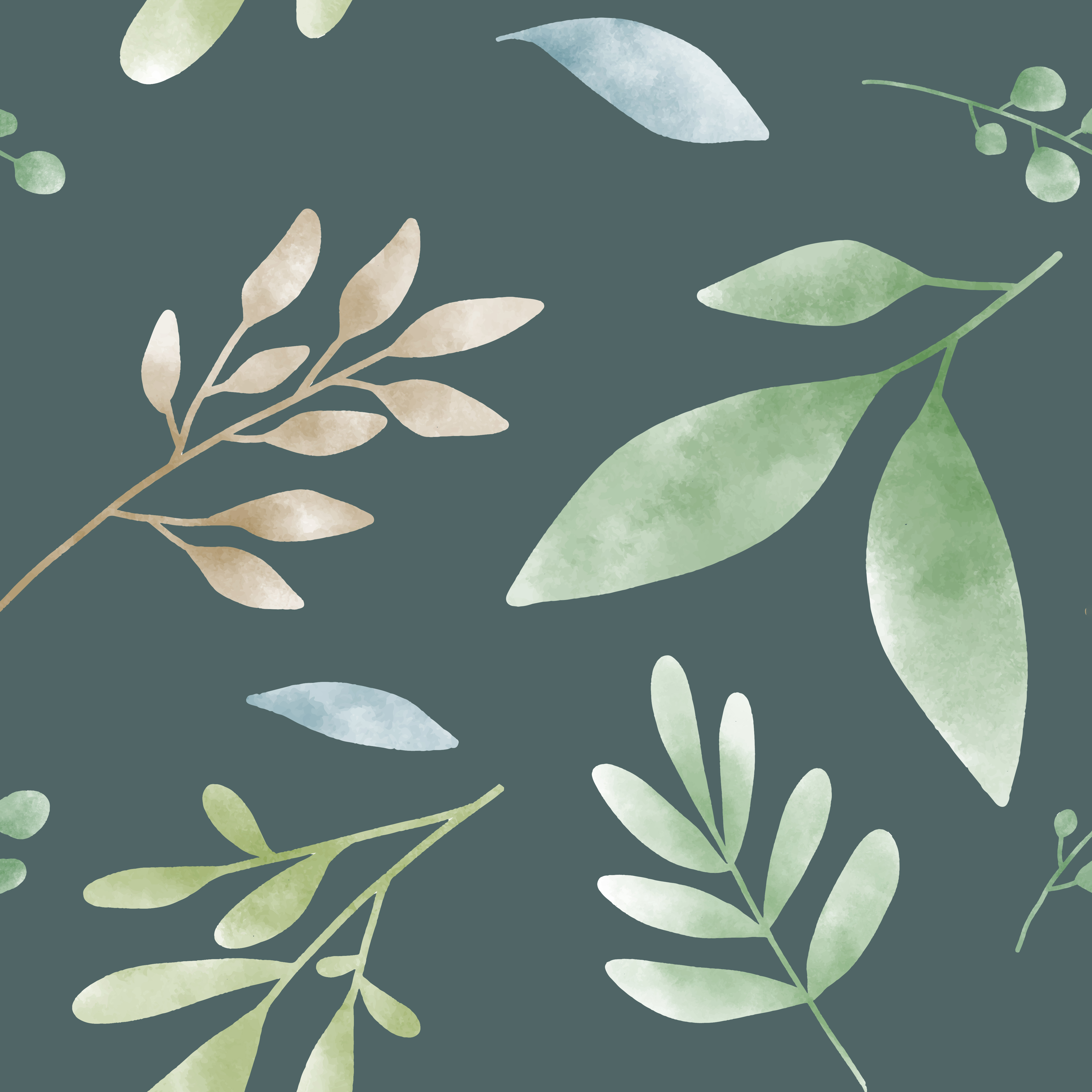 Watercolor Green Leaf Patterns Vector Download Free