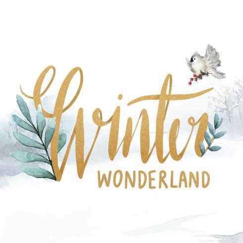 Vector de tipografía acuarela de país de las maravillas de invierno