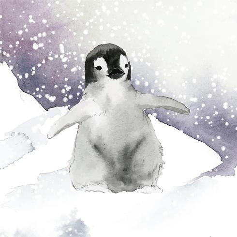 Young emperor penguin in the snow watercolor vector