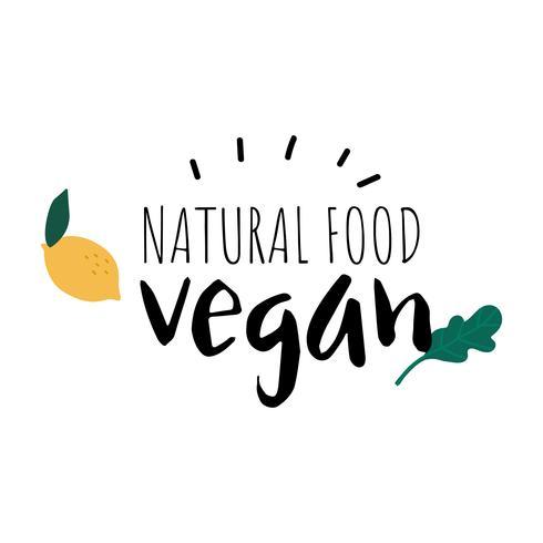 Vecteur de logo végétalien de nourriture naturelle