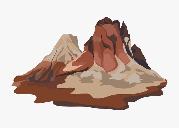 Pintado ilustración de paisaje de vista de la montaña