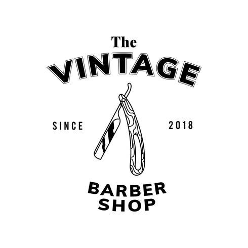 Vintage frisörsbutik textdesign vektor