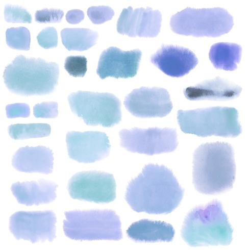 Set disegno acquerello blu
