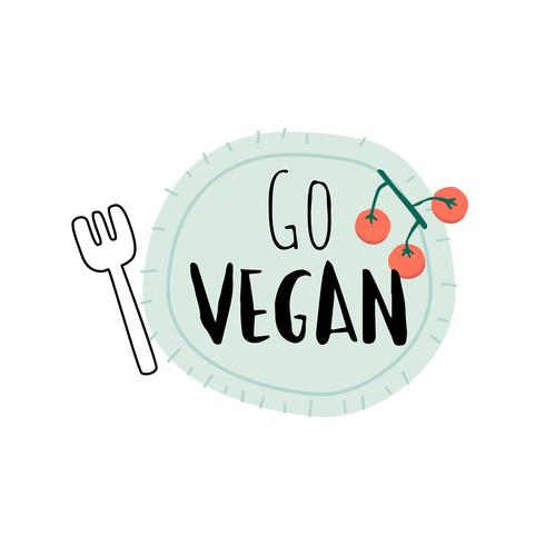 Go vegan on a plate logo vector