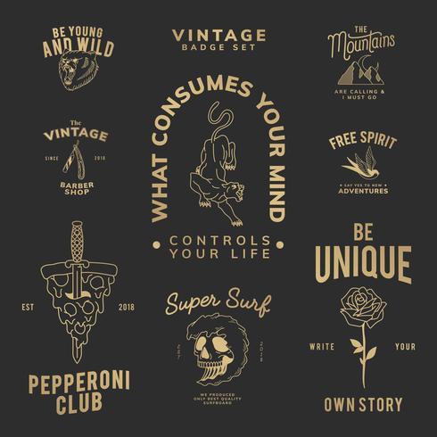 Colección de distintivos motivacionales.