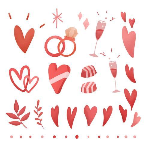 Valentim vermelho amor conjunto de doodle