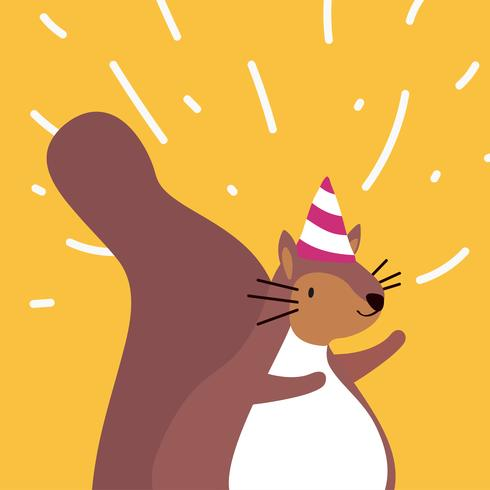 Cute brown squirrel wearing a party hat cartoon vector illustration