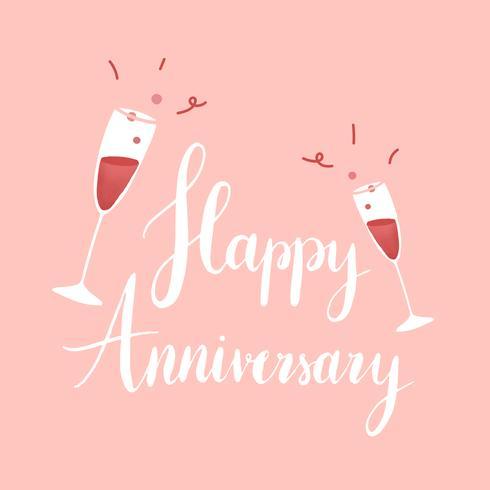 White happy Anniversary typography vector