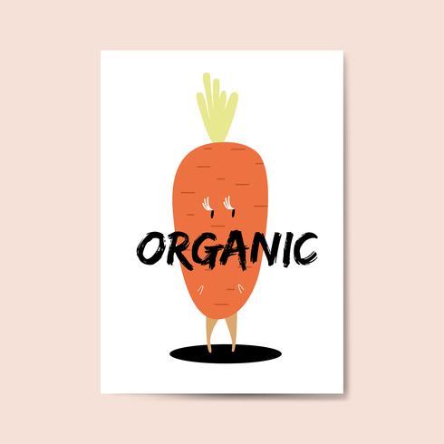 Vecteur de personnage de dessin animé de carotte biologique