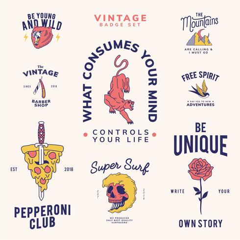 Vintage Abzeichen gesetzt