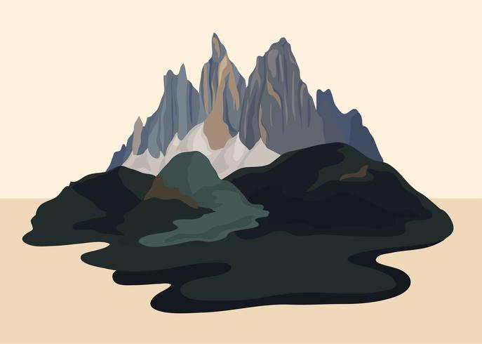 Painted mountain view landscape illustration