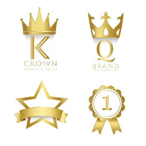 Set di vettore di premi e distintivi
