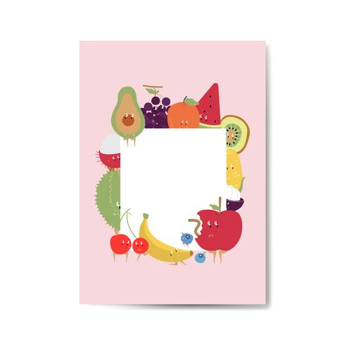 Tropische grappige vruchten cartoon karakter frame vector