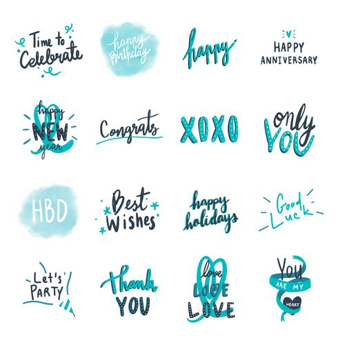 Collection of blue celebratory love typographies