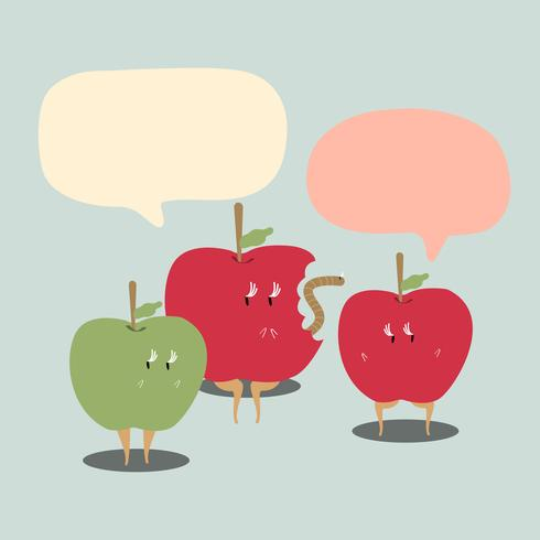 Apples with blank speech bubbles cartoon character vector
