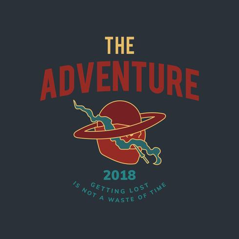 Vintage el vector de diseño de texto de aventura