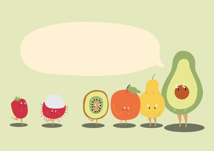 Frische tropische Früchte mit einem leeren Spracheblasenzeichentrickfilm-figur-Vektor