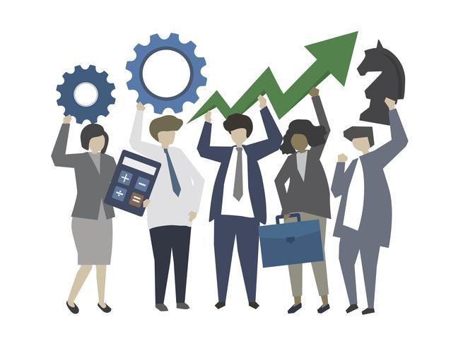Mensen uit het bedrijfsleven met strategie en groei concept