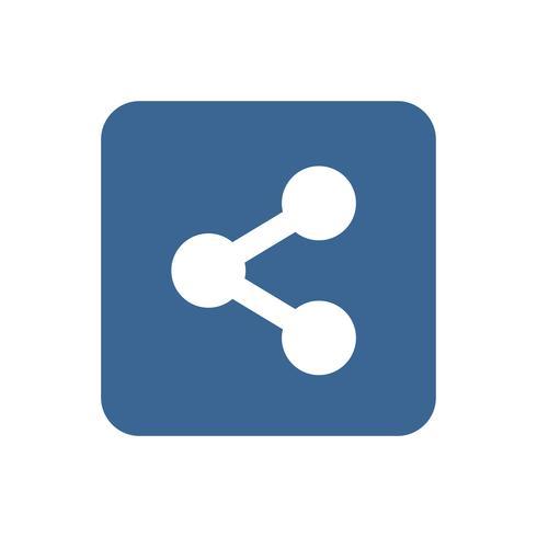 Condivisione del segno sull'illustrazione grafica del quadrato blu