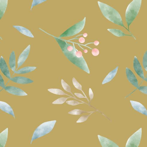 Vector de patrón de hoja de amarillo mostaza acuarela