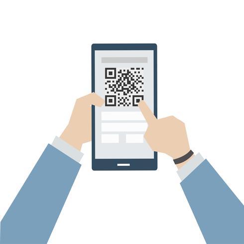 Ilustración de pago en línea con matriz de código de barras.