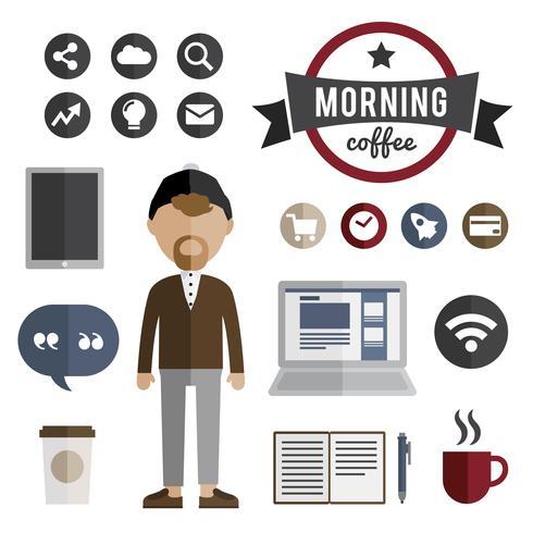 Ilustración de personaje de avatar de hombre maduro