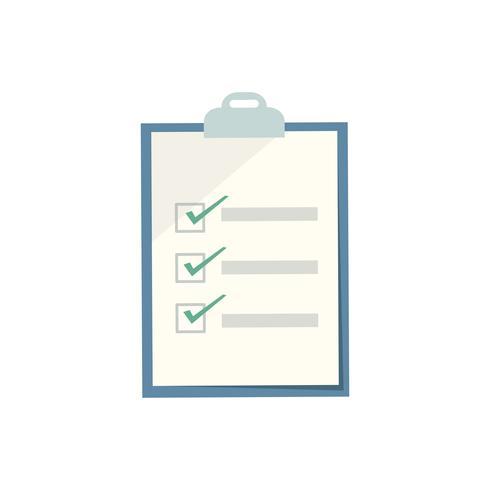 Blaues Klemmbrett mit Checklistengraphikillustration